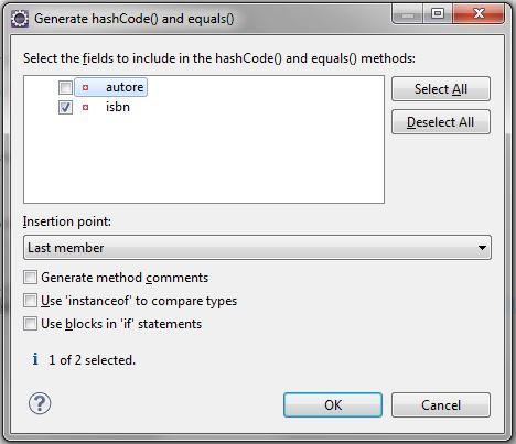 Java – i metodi equals e hashCode e un esempio di override 2
