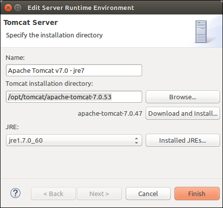 Eclipse - New Server Runtime Environment