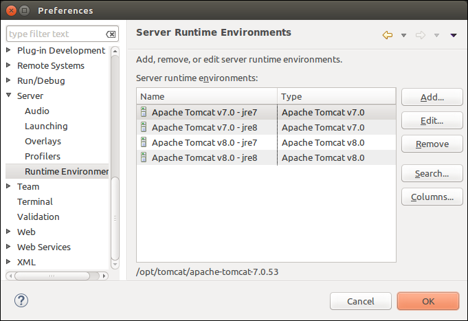 Eclipse - Server Runtime Environments